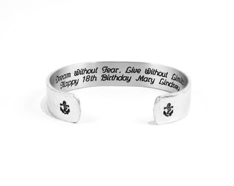 """Daughter / Sister / Best Friend / Birthday Gift ~ Dream Without Fear, Live Without Limits  Happy 18th Birthday (name) ~ 1/2"""" message cuff"""
