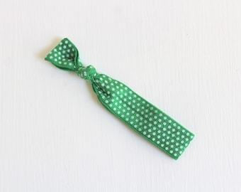 Elastic Hair Tie, Polka Dot Hair Tie, Green Hair Tie, Printed Hair Tie, FOE Hair Tie, Single Hair Tie, Creaseless Hair Tie, Ponytail Holder