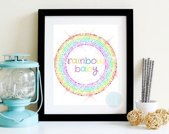 PRINTABLE Art Over The Rainbow Christening Gift Rainbow Art Nursery Wall Art Gender Neutral Decor  Rainbow Baby Gift Gender Neutral Baby