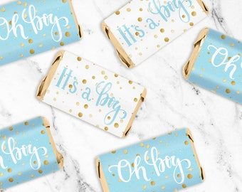 Blue and Gold Boy Baby Shower Favor Candy Wrapper Stickers for Hershey Miniatures - It's a Boy Candy Labels - 54 Count