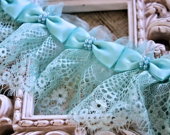 """Tresors Exquisite Turquoise Trim with Satin and Pearl Bows, aprox.15 Bows/yrd GL-1001 10% off """"SUMMER10"""" at checkout"""