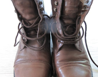 Vintage leather lace up ankle boots, size EU 38/UK 5