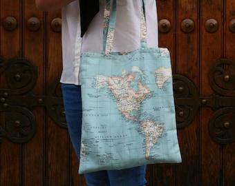Atlas Tote bag//Atlas Print//handmade//Canvas tote bag//gift for women//totebag//TOTE bag fabric//world map//Mundi