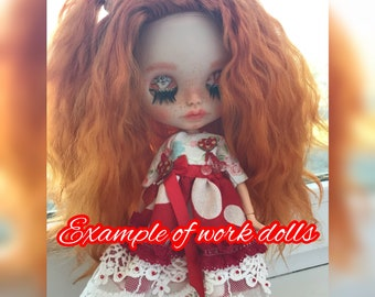 Blythe doll under the order, with a goat hair stitch