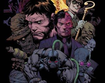 Gotham City Rogues - Batman Comic Book Cover -  Poster Print