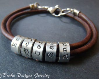 Father's Day  custom name leather bracelet with Kids names or birthdate personalized bracelet for men or women