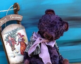 Deep Purple Artist Teddy Bear. Vintage Plush Teddy Bear. Handmade OOAK stuffed animal toy, keepsake gift