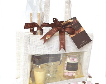 Luxury Belgian HOT CHOCOLATE mix kit set with mug - milk and white hot chocolate stirrer spoons, marshmallows, 30th birthday her