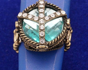 """gorgeous ring medieval renaissance look, brass, adorned with Rhinestone Crystal Cross Nero, mounted on a stone of """"teal"""""""