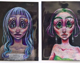 """Custom Portrait Colored Pencil Drawings - 2.5""""x3.5"""" ACEO Size"""