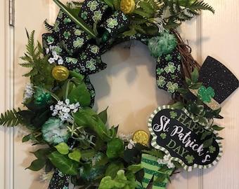 St Patricks Day Wreath, Grapevine St. Patricks Day Wreath, St. Patricks Day Door Wreath, St. Patricks Day Decor