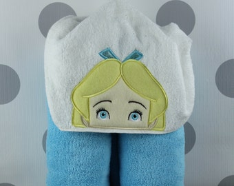 Kid's Hooded Towel - Wonderland Alice Hooded Towel – Wonderland Alice Towel for Bath, Beach, or Swimming Pool