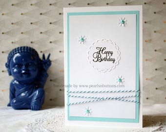 Happy Birthday - Handmade Greeting Card - Customised/Personalised for Birthday /Anniversary /Any Occassion by Pearls N Buttons