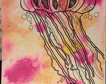 JELLY FISH water color . ORIGINAL hand painted