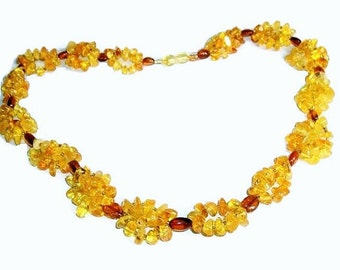 Baltic Amber Jewelry Amber necklace for woman Yellow Gemstone necklace handmade Natural stone  Macrame Boho necklace adult gift mama woman