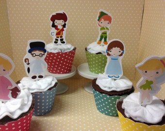 Peter Pan, Neverland, Captain Hook, Tinkerbell Party Cupcake Topper Decorations