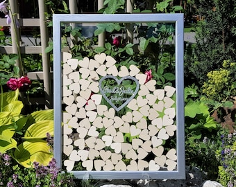 Wedding Guest Book Alternative Guest Book Personalized Drop Top box Heart Guestbook Custom guestbook Memory Box Silver Guestbook clear