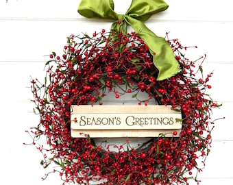 Holiday Wreath-Winter Wreath-Christmas Home Decor-Holiday Wreath-RED Berry Wreath-Rustic Christmas Wreath-Holiday Home Decor-Scent Wreaths