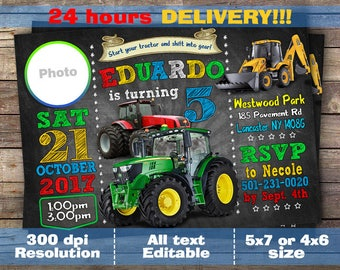 Tractor Birthday Invitation, Tractor Invitation, Farm Invitation, Printable Invitation, Tractor Party, Tractor Birthday, Farm Birthday