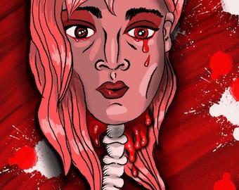 4x6 digital art prints limited original designs popart weird art red woman blood tears