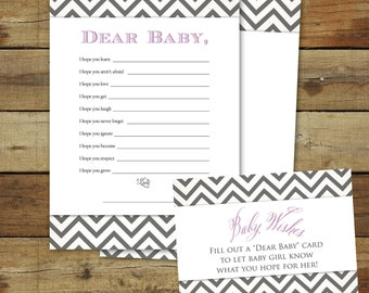 Purple and gray printable baby shower game, instant download, Wishes for Baby