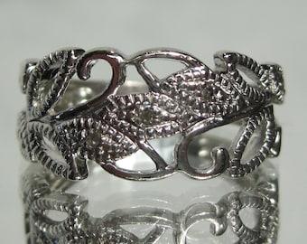 Vintage Sterling Silver Filigree RJ Ring Sz 7 M359