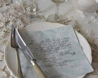 French Fleur Party Napkins With Script