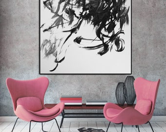 White painting on print, Black and White Print, Japanese painting, Fine Art Print, Giclee Print, Black and White painting, black painting
