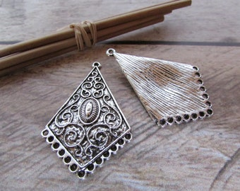 2 connector earring 4.5 cm long metal antiqued silver tone - 143.53