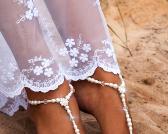 Beaded barefoot sandals, Bridal foot jewelry, Pearl and Rhinestone Beach wedding Barefoot Sandals, Swarovski Elements, Gifts, Bride, Anklet