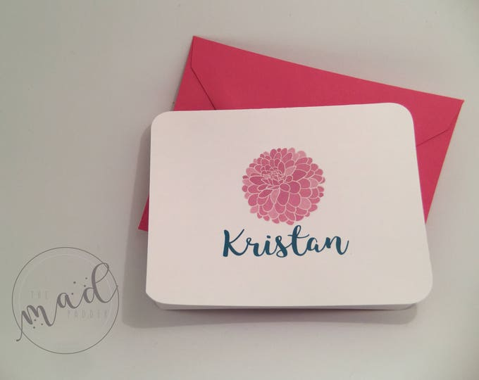 Dahlia Personalized Note Cards