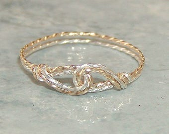 Thumb Ring - Two Tone Ring - Infinity Design - Interlocked Swirls Two Tone Twist Wire Ring - Silver and Gold - Affordable Ring - Womens Ring