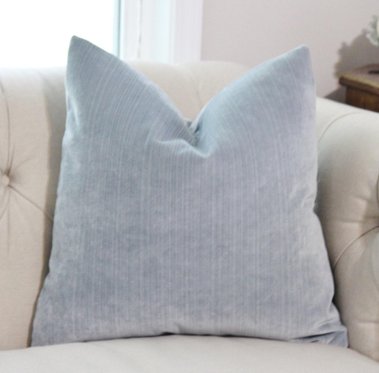 Light Blue Pillow Silver Blue Striped Velvet Pillow Cover