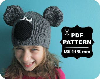English-French Two Needle KNITTING PATTERN / Digital Download / #59 / Knitted Koala Hat / 6-16M to 5 years-Adult / US11 / 8mm