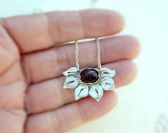 Little Garnet Lotus Necklace - Sterling Silver, Hand Crafted Pendant