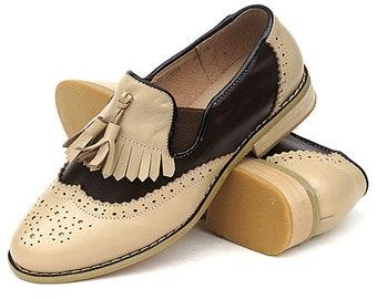 Leather Tassel ladies Slip on, Woman leather slip on, women slip on