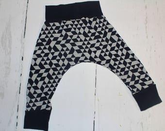 Deep Navy Geometric Baby and Kids Harem Pant Leggings, Knit Harems, Leggings, Dark Navy Blue and Heather Grey Shapes