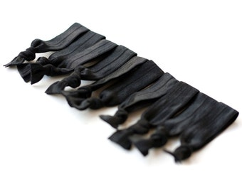 The Pitch Black Package - 10 Black Dark Elastic Solid Color Hair Ties that Double as Bracelets by Mane Message on Etsy