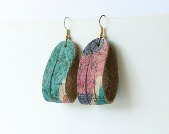 Leather Earrings / Mini Sliced Leather / Vintage Floral