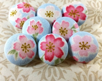Fabric-Covered Buttons - Cherry Blossom Floral Fabric Buttons - Sakura Flowers Covered Buttons - You Choose the Size - Custom Spring Buttons