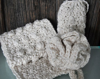 Crochet Natural Spa Set with puff, soap set