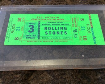 Vintage Unused 1975 Rolling Stones Concert Ticket