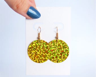 Gold holographic earrings // disc dangle drop // festival iridescent sparkly hologram // gold hooks // minimal dainty
