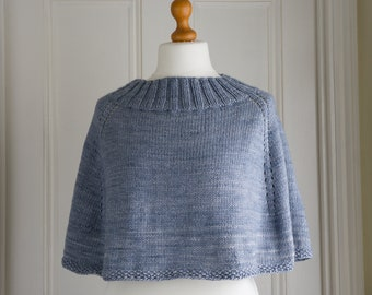 Capelet or poncho - super soft and warm mini cape or shoulder cosy, hand knit with a variegated kettle dyed pure merino wool