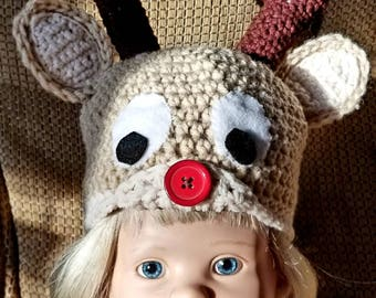 Reindeer Hat, Christmas Hat, Holiday Hat, Winter Hat, Holiday Hat, Birthday Gift,  Baby Shower,  Crochet Hat