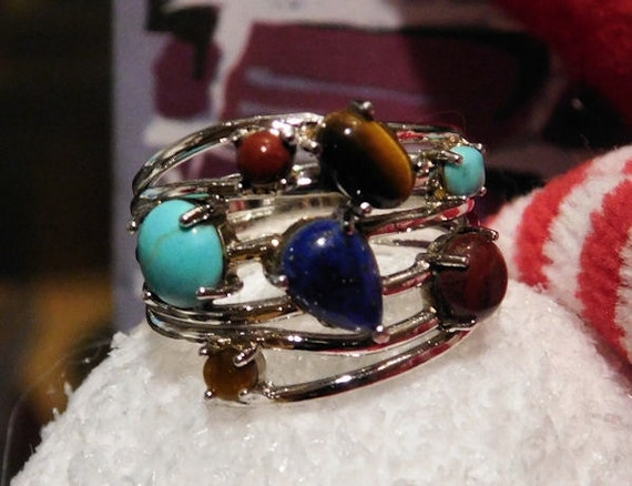 Multi Stone Ring / Sterling Silver