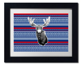 Moose of Norway - Printable Wall Art - Norwegian Winter Themed Marius Mønster Moose Print