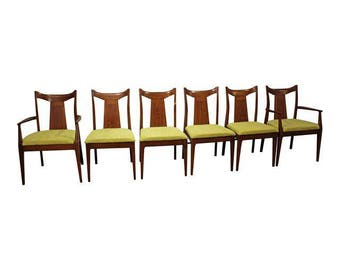 Set of 6 Mid-Century Danish Modern Curved Back Walnut Dining Chairs