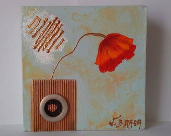 Poppy: vase, Acrylic paint, canvas, scene original poppy, collages, home decor, certified, bouquet, flower, MOM Christmas gift