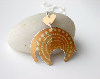 Elephant necklace pendant in yellow with spotty print, yellow elephant,elephant jewellery